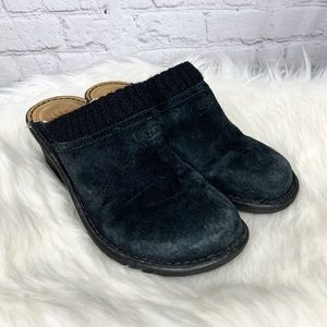 Ugg Gael Black Suede Lined Wedge Mules Clogs 1934